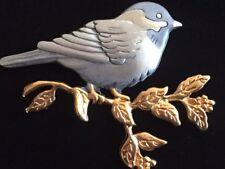 "SHIELDS PEWTER GOLD MARTIN BLUE JAY WREN SPARROW ORAL BIRD PIN BROOCH JEWELRY 2"""