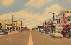1950s Main Str Las Vegas NM Signs Autos Pan-Am Hwy US85 Vintage Linen POSTCARD
