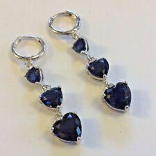 J21 Plum UK blue sapphire heart white gold fill earrings 55mm drop dangle BOXED