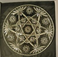"""Vintage EAPC Anchor Hocking Star of David Glass Platter 13-1/2""""  Round Clear"""