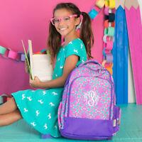 Purple Print School Backpack Book Bag Monogram Personalized Initial
