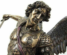 "Large Archangel St. Michael Standing On Demon Statue Sculpture Figure 28"" Tall"