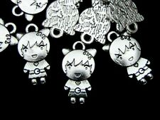 10 PC tibetano plata Girl encantos 22mm Joyas Kids Cartoon Girl z203