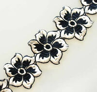 White Flowers. Black & White Trim. Wide, Embroidered, Ribbon..
