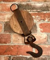Cast Iron with Wood Round Pulley Steampunk Decorative Hook