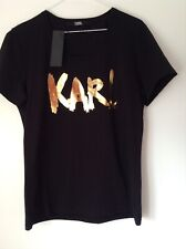 BNWT 100% Auth Karl Lagerfeld, Ladies Black T-Shirt ' KARL ' L RRP £125
