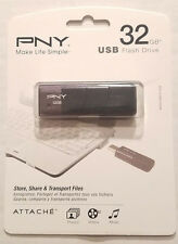 PNY Attache 4 Flash Drive 32GB USB 2.0 Memory Stick: Brand New, Factory Sealed