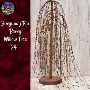 """Primitive Colonial Country Cranberry Pip Berry 24"""" Willow Tree"""