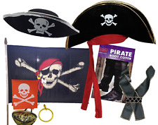 Adult Pirate Costume Accessories Hat Sword Beard Eye Patch Boot Cover Sash