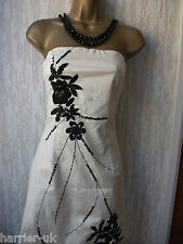 Stunning Jane Norman Ivory/Black Strapless  Party  Evening  Dress Size10UK