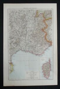 Antique Map: South-East France & Corsica, The Universal Atlas, 1893