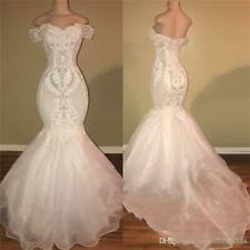 Simple Mermaid Wedding Dresses African Off Shoulder Lace Appliques Bridal Gown