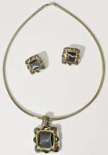 parure bijou vintage collier boucles clips cabochon nacré couleur argent *4152