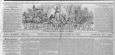 THE LIBERATOR ABOLITION OF SLAVERY NEWSPAPER BY WILLIAM LLOYD GARRISON LIBERTY