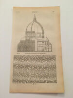 K66) Santa Maria del Fiore Florence Italy Cathedral Architecture 1842 Engraving