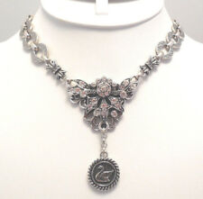 Antique Silvertone Big & Bold ! New Kirks Folly Swan Lake Necklace