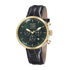 CCCP Men's Kashalot Dress CP-7007-03 44mm Green Dial Leather Watch