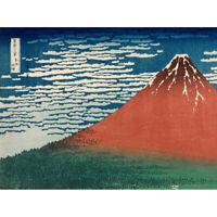 Katsushika Hokusai Fine Wind Red Fuji Canvas Art Print Poster