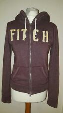 Abercrombie And Fitch Womens Hoodie  Sweatshirt Jumper Burgundy M Hooded Zip Up