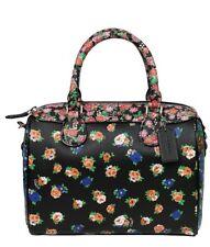 Coach Leather Handbag Bag Multicolor Floral black pink blue F57626