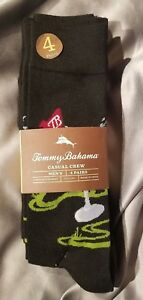 Tommy Bahama Martini, Golf 4 Pack Casual Crew Socks Black ~ SHIPS FREE!