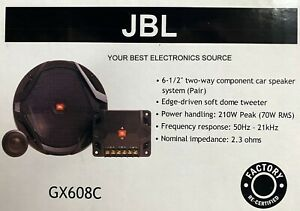 """FACTORY RECONDITIONED JBL GX608C 6.5"""" 2-Way Component Car Speakers - PAIR 6-1/2"""""""