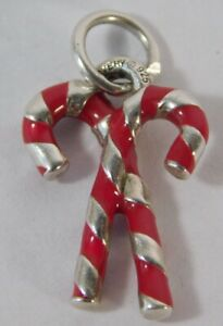 James Avery Christmas Candy Cane Enamel Sterling Silver Charm