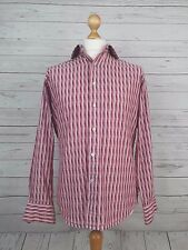 """T.M.Lewin John Francomb Mens Slim Fit Pink Striped Button Cuff Shirt 15.5"""""""