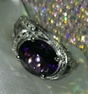 925 Sterling Silver Chunky Amethyst Ring, UK Ring Size O