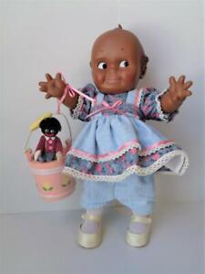 Vintage Cameo Kewpie Doll AFRICAN AMERICAN Black Vinyl with Miniature Doll
