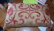 Gold & Rust Satin Bolster Pillow with Tassels / Lumbar Pillows  21  x 13