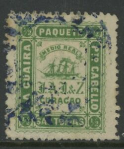 DANISH WEST INDIES, USED, #.5¢ GREEN, PAQUETE, SAN TOMAS, PTO. CABELLO