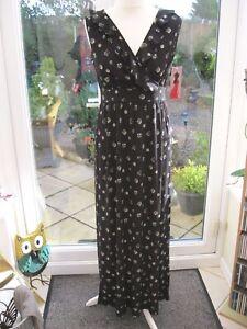 Nina Leonard Printed Wrap Front Maxi Dress w/Ruffle Detail Black Multi Small NWT