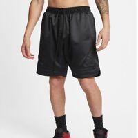 Men Nike Air Jordan Satin Diamond Shorts Triple Black Comfort AO2820-010 Size L