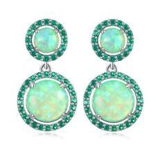 """Green Opal & Green Quartz Women Jewelry Gems Silver Stud Earrings 1 1/8"""" OH3639"""