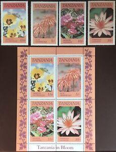 Tanzania 1986 Flowers Set & Minisheet MNH