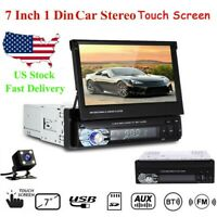 """7"""" Touch Screen Single 1 Din Car Radio Stereo MP5 Player BT USB TF AUX + Camera"""