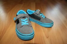 Cherokee Boys Sz 8 Sneakers Blue Gray Black Suede Non-marking sole Slip On Shoes