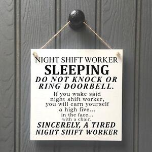 NIGHT SHIFT WORKER DO NOT DISTURB Door Sign - Doctors Nurses Factory Workers