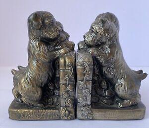 """Vintage Metal Scottie Dog Bookends Bronze Brass - Ivy Vine Trim - 6"""" Tall"""