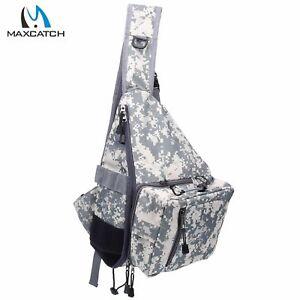 Camo Fly Fishing Sling Pack Shoulder Fishing Bag w/ Tippet Holder Nipper Tackle