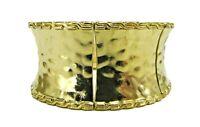 Wide Hammered Finish Gold Tone Stretch Bangle Bracelet