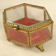 VINTAGE GILT BRASS & GLASS PANELS WINDOWS DISPLAY TRINKET JEWELLERY BOX