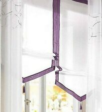 1 pieza Cortina Romana 140 x 140 Blanco Púrpura bordado Persiana gancho de