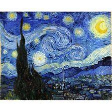 "Beautiful Repro Poster Van Gogh's Impressionist ""Starry Night"" Landscape 36x54"""
