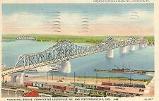 Louisville KY-Jeffersonville IN Municipal Bridge Postcard 1934