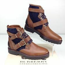 Burberry Utterback Lace Up Hiking Boot Ankle Bootie Dark Brown Moto 37 / US 7