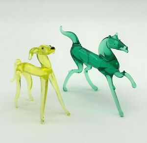 Set Of 2 Horse And Dog Murano Style Miniature Art Glass Lampwork Figurines