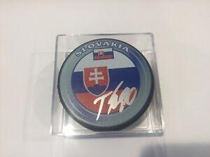 Tomas Tatar Signed Autographed Team Slovakia Hockey Puck a