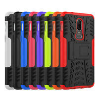 Shockproof Rugged Hybrid Hard Stand Armor Rubber Case Cover For One Plus 6